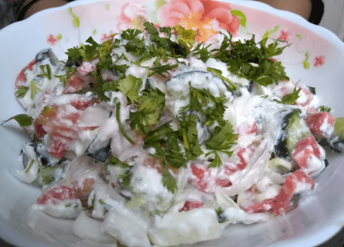 Yogurt Salad Pakistani Food Recipe (With Video)