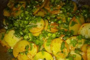 Green Garlic Spicy Potatoes Pakistani Food Recipe