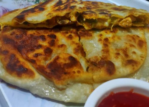Delicious Chicken Cheese Paratha Pakistani Food Recipe (With Video)