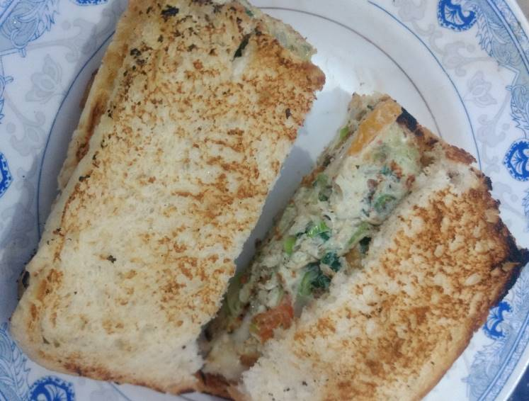 Veggies Cheese Egg Sandwich Pakistani Food Recipe