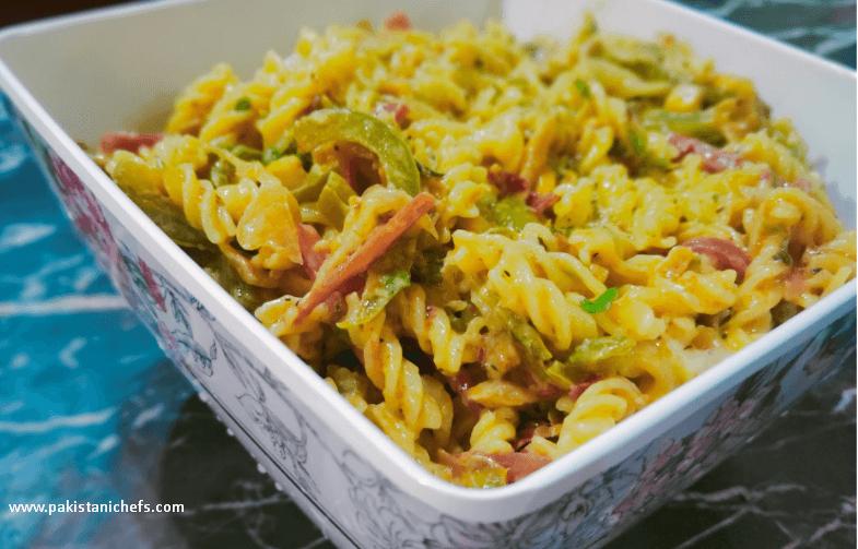 Vegetable Cheese Macaroni Pakistani Food Recipe (With Video)